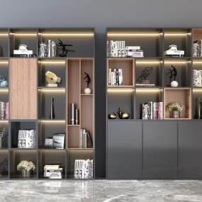 现代书柜3D模型【ID:650972238】
