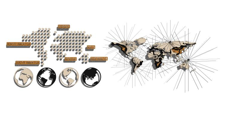 現代墻飾地圖組合SU模型【ID:947627292】