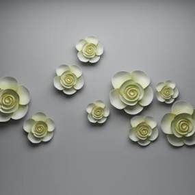 新中式装饰挂花3D模型【ID:253924764】