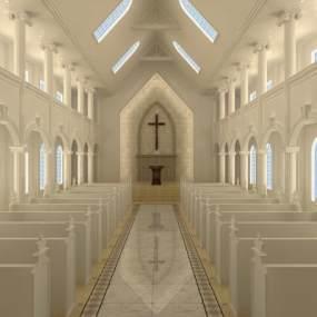 简欧基督教堂3D模型【ID:946576981】