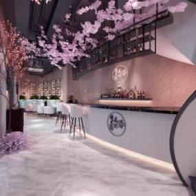 现代樱花主题餐厅3D模型【ID:634710234】