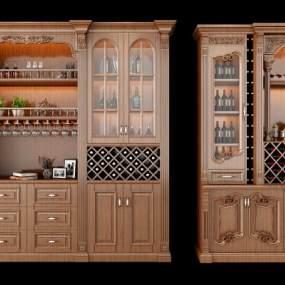 美式酒柜组合3D模型【ID:631930225】
