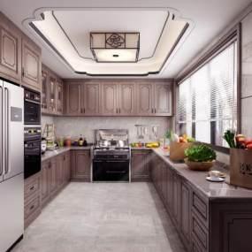 新中式廚房3D模型【ID:543307336】