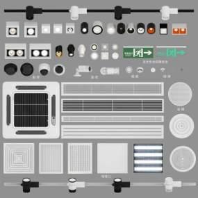 射灯筒灯空调风口检修口摄像机监控安全出口烟感喷淋喇叭组合3D模型【ID:832367432】