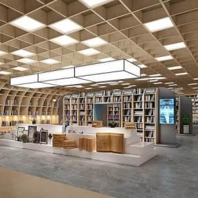 新中式书店书架组合3D模型【ID:953486814】