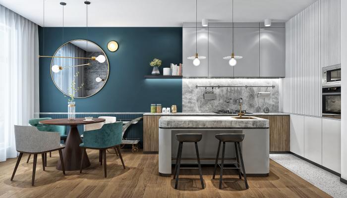 现代轻奢厨房3D模型【ID:552980310】
