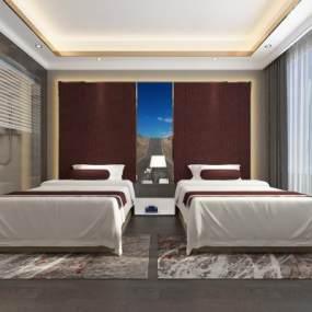 現代酒店標準間3D模型【ID:746864378】
