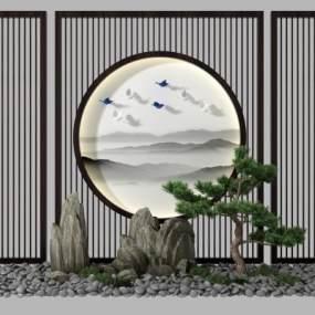 新中式松树假山园艺小品3D模型【ID:135918578】