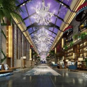 新中式酒店大堂3D模型【ID:731448037】