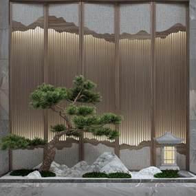 新中式園藝景觀假山松樹小品3D模型【ID:130884437】