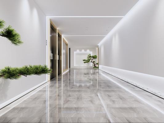 现代极简走廊3D模型【ID:742756453】