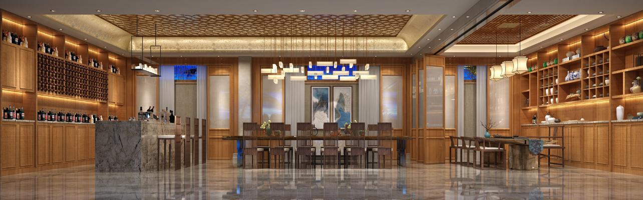 新中式風格茶館3D模型【ID:641994603】