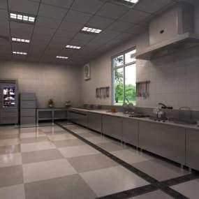 现代酒店后厨3D模型【ID:643102680】
