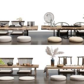 新中式茶桌椅凳组合3D模型【ID:850099959】