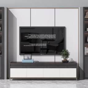 新中式电视背景墙电视柜3D模型【ID:934393967】