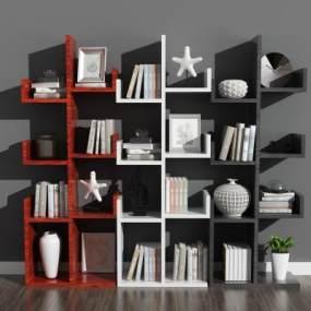 现代书柜3D模型【ID:144106539】