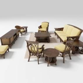 东南亚沙发茶几3D模型【ID:650987771】
