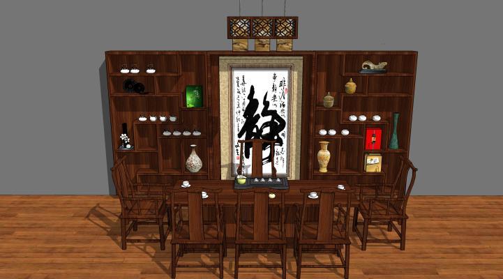 中式茶臺組合裝飾柜SU模型【ID:645543503】