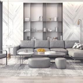 现代沙发茶几组合3D模型【ID:632095772】