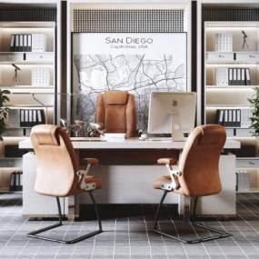 现代轻奢老板经理办公电脑桌椅组合3D模型【ID:945242150】