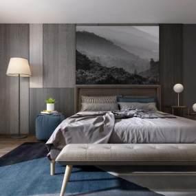 现代卧室双人床3D模型【ID:530431243】