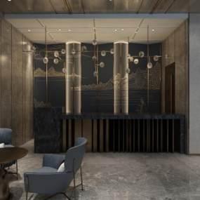 現代輕奢酒店大堂3D模型【ID:749471007】