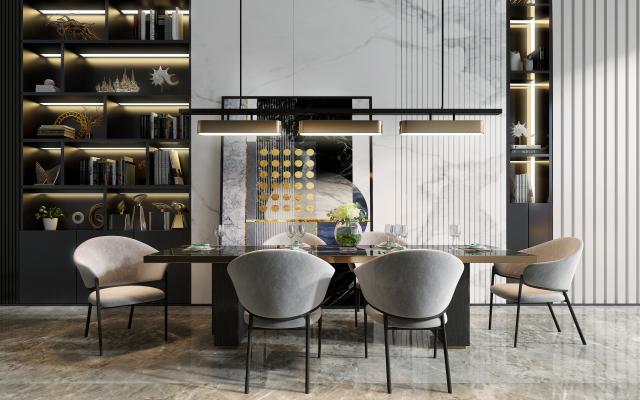 現代餐桌椅組合3D模型【ID:743336169】