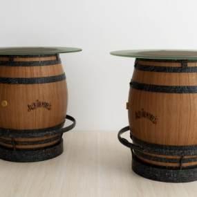 现代酒桶圆几3D模型【ID:633238818】