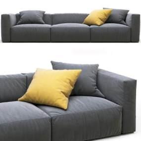 现代布艺三人沙发3D模型【ID:634672639】
