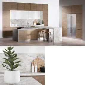 现代厨房3D模型【ID:544460157】