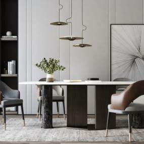 現代餐桌椅吊燈組合3D模型【ID:842951806】
