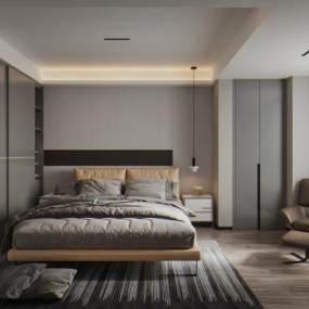 现代卧室3D模型【ID:553994235】