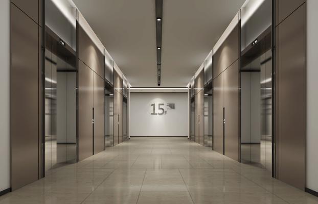 现代风格电梯厅3D模型【ID:742906615】