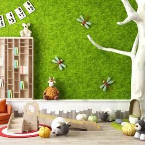 现代幼儿园早教中心儿童玩具假树滑滑梯组合3D模型【ID:335828460】