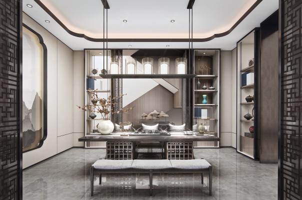 新中式茶室3D模型【ID:652812177】
