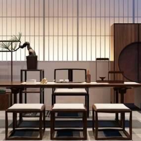 新中式茶桌茶室3D模型【ID:630761100】