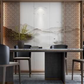 新中式餐桌3D模型【ID:833043875】