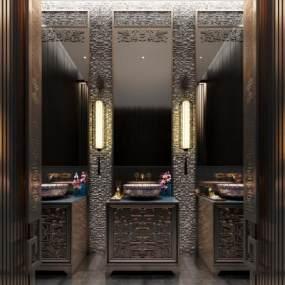 新中式酒店卫生间3D模型【ID:446901149】