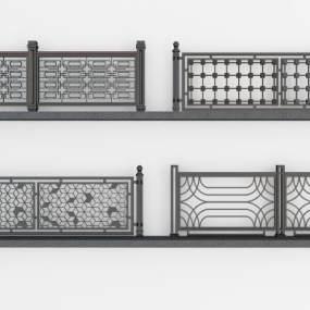 现代铁艺栏杆铁艺围栏3D模型【ID:343358363】