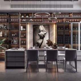 后现代风格餐厅酒柜3D模型【ID:533501145】