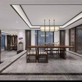 新中式茶室3D模型【ID:643049129】