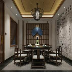 新中式餐厅包厢3D模型【ID:631939841】