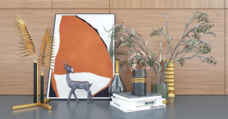 現代輕奢桌面擺設擺件飾品3D模型【ID:249037594】
