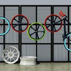 工业风金属网架轮胎自行车组合3D模型【ID:231975736】