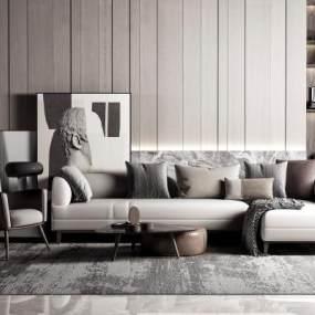 现代高级灰沙发茶几组合3D模型【ID:645563737】