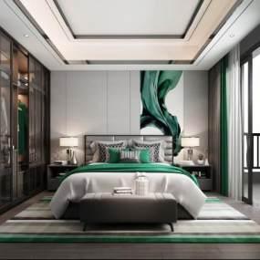 现代轻奢卧室3D模型【ID:548904232】