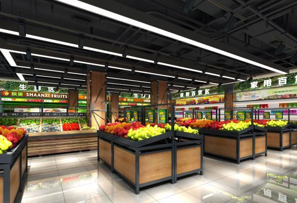 现代超市3D模型【ID:130875152】
