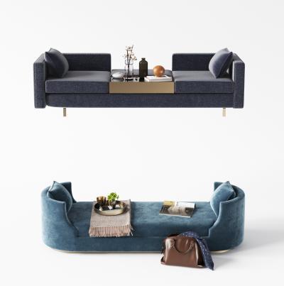 现代布艺床尾凳3D模型【ID:753015618】