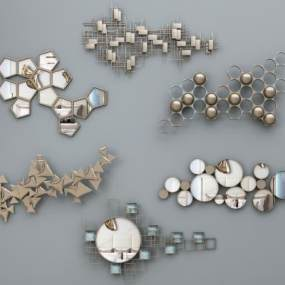 现代金属墙饰挂件组合3D快三追号倍投计划表【ID:233480774】