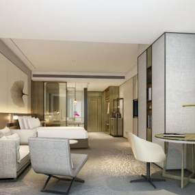 新中式酒店客房3D模型【ID:745535378】